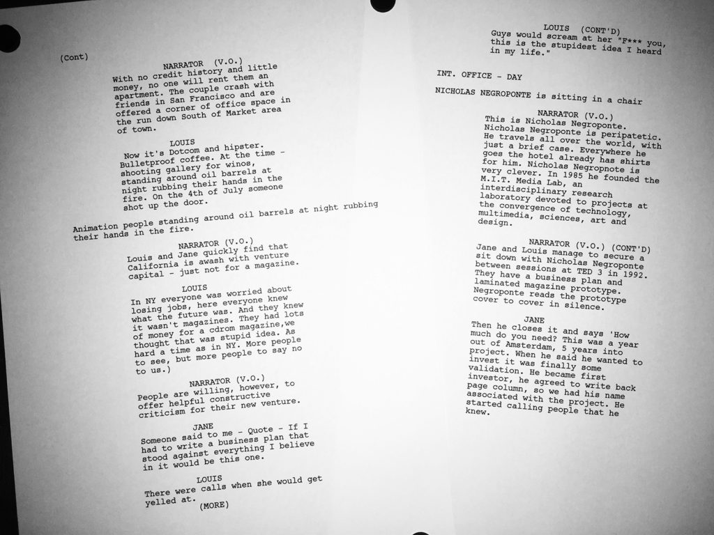 Wired Documentary script written by Chris Nelson and Demi Taylor screenwriting