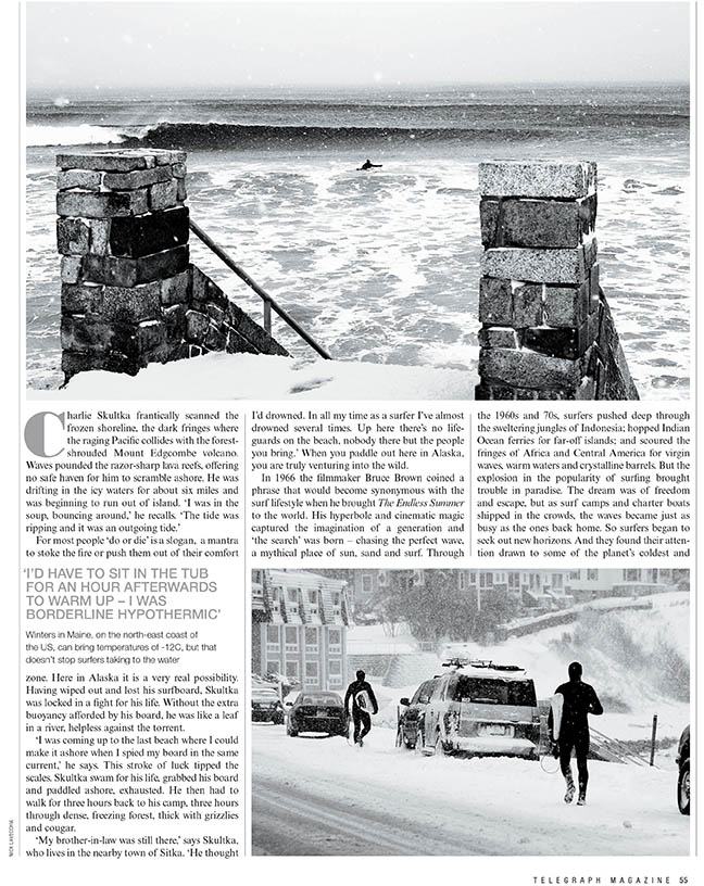 Ice Breakers: The untold story of cold water surf pioneers by Chris Nelson for The Telegraph Magazine.